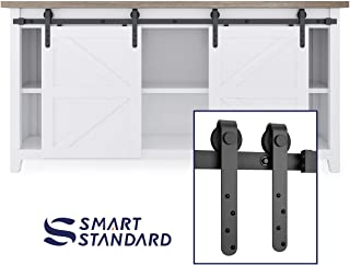 SMARTSTANDARD 6FT Mini Sliding Barn Door Hardware Track Kit -Super Smoothly and Quietly -Used for Double Opening Cabinet, TV Stand, Closet, Window -Fit 18