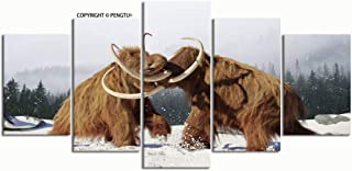 PENGTU Paintings Modern Canvas Painting Wall Art Pictures 5 Pieces Woolly Mammoth Bulls Fighting Prehistoric ice Wall Decor HD Printed Posters Frame