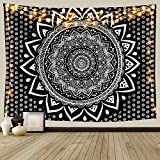 Black and White Mandala Ombre Tapestry Wall Hanging, Bohemian Tapestries for Home Dorm Living Room Bedroom Ceiling Decor, Large Blanket for Men Women with Non-Mark Hooks & Clips 59x79 inches