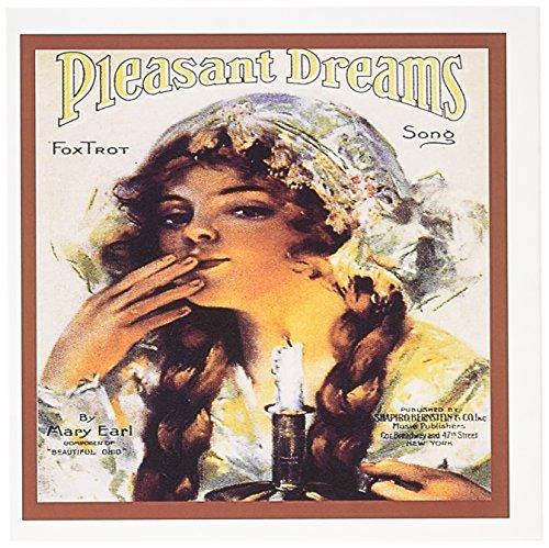 3dRose Grußkarten, Motiv: Pleasant Dreams Tox Trot mit Frau im Nachthemd mit Kerze, 15 x 15 cm, 12 Stück (gc_170728_2)