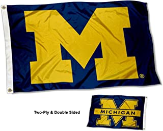 College Flags and Banners Co. Michigan Wolverines Dual Logo Double Sided Flag