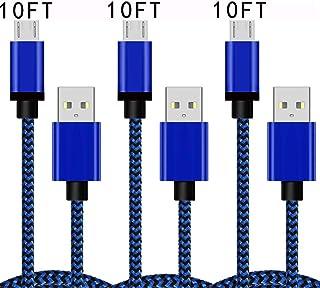 كابل شحن Micro USB 10FT 3Pack كبل شاحن أندرويد سريع متوافق مع سامسونج جالاكسي J7 S7 J3 S6 Edge Note 5 LG Stylo 2/3 G4 V10 ...