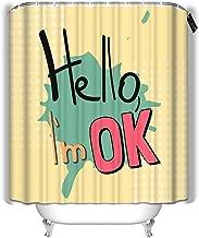 YILINGER Bath Curtain Cool Slogan Fashion Style Hello Im Ok Bathroom Decoration Shower Curtain 72