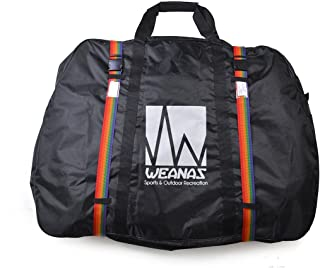 Weanas Bicycle Travel Cases Travel Bag with Two Inner Pockets, Fork Protector and Free Luggage Straps Included, Road Bike MTB Airplane Transport Bag