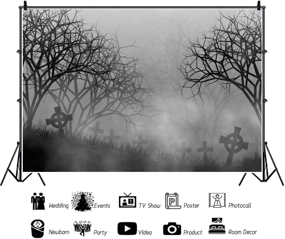 OFILA Foggy Forest Backdrop 12x10ft Halloween Cemetery Background Horrible Halloween Photography Background Halloween Escape Party Decoration Halloween Eve Photo All Saints Day Shoot Props
