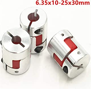 3Pcs 6.35x10mm CNC Stepper Motor Jaw Shaft Coupler 6.35mm to 10mm Aluminum Flexible Jaw Spider Plum Coupling D25L30 Connector for CNC Router Engraving Milling Machine/3D Printer