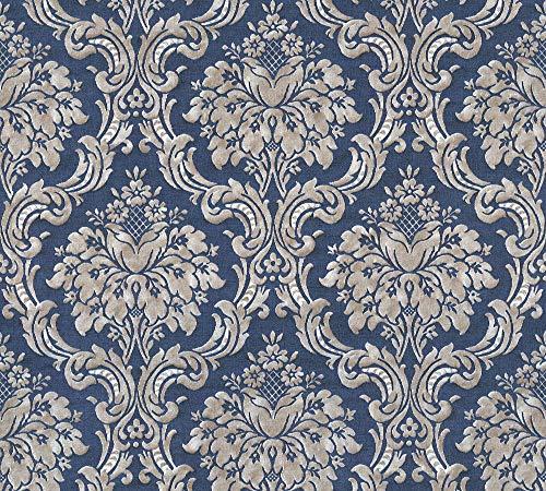 Livingwalls Vliestapete Paradise Garden Tapete mit Ornamenten barock 10,05 m x 0,53 m blau metallic beige Made in Germany 367167 36716-7