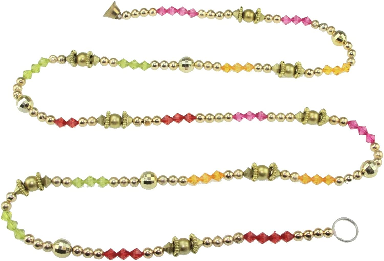 Multicolour Crystal & Round Golden - Beaded Chain Garland Ladi Toran Door-Wall Hanging With Bell -5'5 B073WXFR3S | Up-to-date-styling