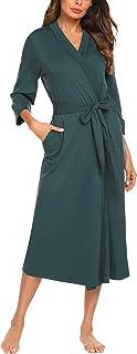 UNibelle Damen Morgenmantel aus Baumwolle 3/4 Ärmeln Bademantel Nachtwäsche Kimono Saunamantel mit Tiefer V-Ausschnitt Schlafanzug