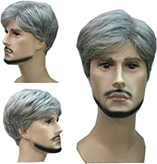 MELADY®(Free Cap) Fashion Casual Grey Short Straight Synthetic Businessman Style Men Hair Replacement Wig