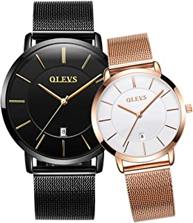 OLEVS His and Hers Couple Watches Fashion Minimalist Wrist Watch Deep Blue Date with Rose Gold Milanese Mesh Band Analog Display Quartz Waterproof Wristwatches for Lovers Pair in Package