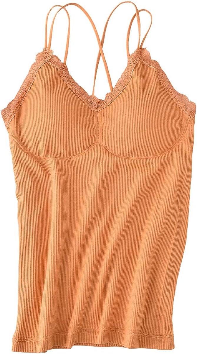 Aodrusa Womens Fleece Lined Thermal Cami Tank Tops Built in Bra Underwear Tops