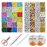 Aenamer Cuentas de Colores 5900 Piezas Cuentas de Arcilla 6 mm y Cuentas de Letras para Hacer Pulseras, DIY Set Abalorios para Hacer Collares para Niños Adultos