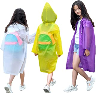 NA VOJACO Rain Poncho, (3 Pack) Kids Rain Coat, Clear Raincoat, Emergency EVA Reusable Portable and Waterproof Hooded Rain...