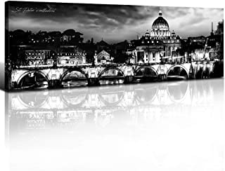 sunfrower -Rome Cityscape Wall Art Panoramic Montreal Decor Canvas Print Paintings Black and White Urban Landscape Canada City Pictures Modern Artwork Stretched Framed Home Decoration 14
