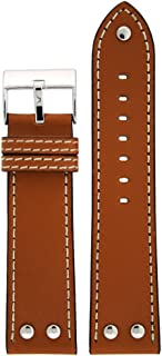 Pilot Watch Band with Rivets Tan Color 20 Millimeter Tech Swiss
