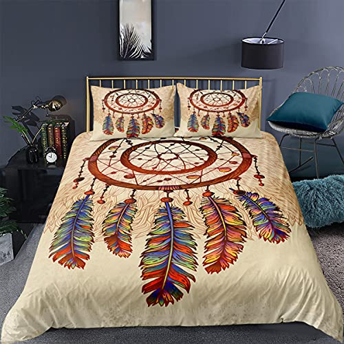 Set di biancheria da letto con copripiumino e federa in microfibra, motivo acchiappasogni boho, acchiappasogni, biancheria da letto Easy Care matrimoniale (motivo 3,220 x 240 cm)