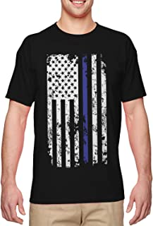 Haase Unlimited Blue Line American Flag - Police Support Men`s T-Shirt