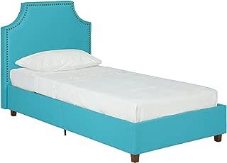DHP Melita Linen Upholstered Platform Bed Frame, Teal, Twin
