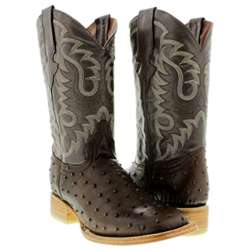 20abeebe08c4 Texas Legacy - Men's Ostrich Quill Design Leather Cowboy Boots Square Toe