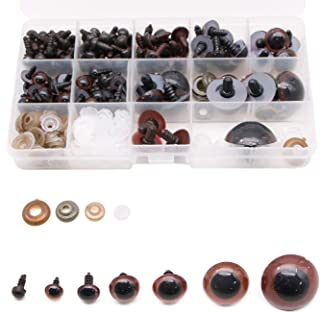 JETEHO 71 Pairs 8/10/12/14/16/18/20/24/30mm Plastic Safety Eyes with Washer for Teddy Bear Doll Animal Puppet Craft
