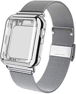 ADWLOF Compatible for Apple Watch Band 38mm Screen Protector Case, Sports Wristband Strap Replacement Band with Protective Case Compatible for iWatch Series 3/2/1,Silver