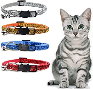Sport Art 4 Colors Pet Bell Necklace cat Necklace Colorful Nylon Collar.Cat or Small Dog Collar Adjustable Breakaway Pet Collar with Bells(4 Packs)