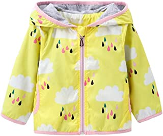 Kids Baby Girls Rain Cloud Print Windproof Hooded Coats Lightweight Active Outdoor Jackets
