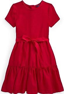 Polo Ralph Lauren Big Girls Tiered Stretch Interlock Dress (Red(7001)/Red, Large)