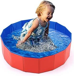 Mcgrady1xm Collapsible Pet Dog Bath Pool, Kiddie Pool Hard Plastic Foldable Bathing Tub PVC Outdoor Pools for Dogs Cat Kid