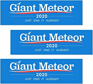 Artisan Owl Giant Meteor 2020 Just End it Already - Funny Auto Car Politics 3x10 Bumper Stickers (3 Stickers)