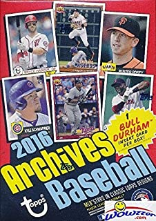 2016 Topps Archives MLB Baseball EXCLUSIVE Factory Sealed Retail Box with 80 Cards including Bull Durham Insert! Look for Cards & Autographs of Kevin Costner, Kris Bryant, Ichiro, Carlos Correa & More