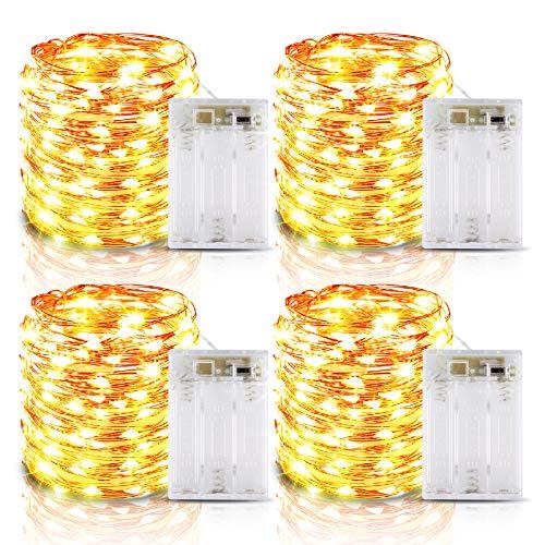 Lichterkette Batterie, 4er 6M 60 LED Lichterkette mit Batterie, IP65 Wasserdichte Kupferdraht Lichterketten mit Timer für Zimmer Party Weihnachten Weihnachtsbaum Halloween Hochzeit Deko(Warmweiß)