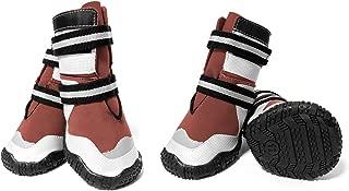 ECtENX Waterproof Dog Shoes, Dog Outdoor Running Boots Labrador Husky Golden Retriever Medium to Large, Pet Rain Snow Boots Sneaker Rugged Anti-Slip 4pcs