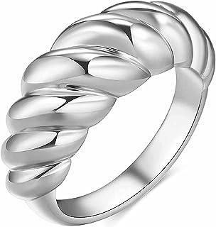 VQYSKO18K خاتم للنساء مطلي بالذهب - كرواسون مضفر ملتوي سيجنيت مكتنز، خواتم عصرية عصرية بسيطة وجميلة للنساء، مقاس 5 إلى 12