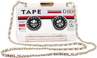 LUI SUI Women's Vintage Tape Shaped Shoulder Bag Clutch Purse Acrylic Evening Bag Party Clutch Handbag