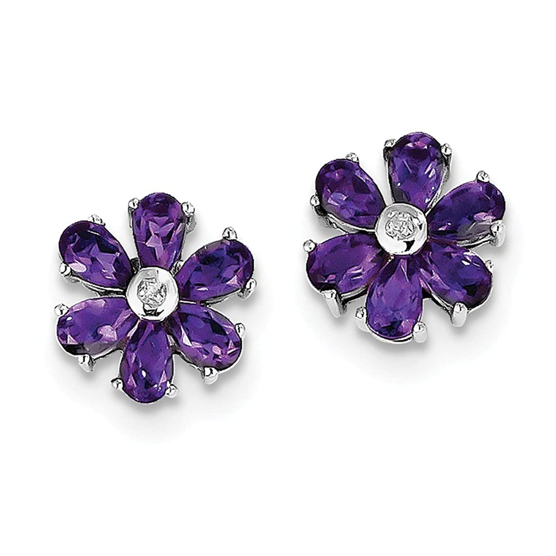 Best Birthday Gift Sterling Silver Rhodium Plated Diamond and Amethyst Post Earrings