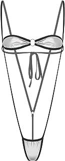 Alvivi 女性 パテントレザー ランジェリー ビキニセット ブラ Gストリング水着 メタリック レディース 水着 オーバーウェア ビキニ セパレーツ 無地 二点セット シルバー フリーサイズ