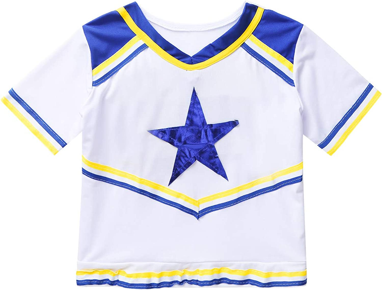 moily Girls Champion Cheerleading Rooter Team Uniform Shiny Star Top with Pleated Skirts Halloween Outfit