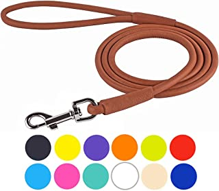 CollarDirect Rolled Leather Dog Leash Rope Soft Padded Training Lead Heavy Duty Leashes for Dogs Small Medium Large Puppy Black Blue Red Orange Green Pink White