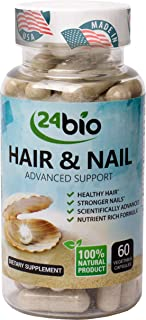 24bio Natural Hair, Skin and Nail Supplement, Multivitamins Complex,Full of Horsetail Extract,Hyaluronic Acid,Biotin For Longer & Stronger Hair and Nails,For Healthy Radiant & Glowing Skin-60 Veg Caps
