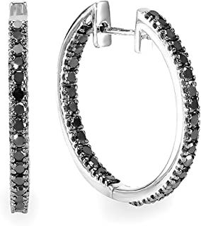 1.25 Carat (ctw) Black Round Diamond Ladies Hoop Earrings 1 1/4 CT, Sterling Silver