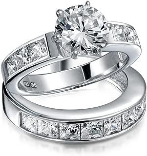 Bling Jewelry 3Ct Solitario Redonda AAA Corte Brillante CZ Pave Juego De Anillo De Boda De Engrane De La Banda Establecida para Mujer
