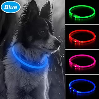 Illumifun LED Dog Collar, USB Rechargeable Light Up Collar, 360 Degree Glowing Pet Collar, TPU Cuttable One Size Fit All Your Small Medium Large Dogs