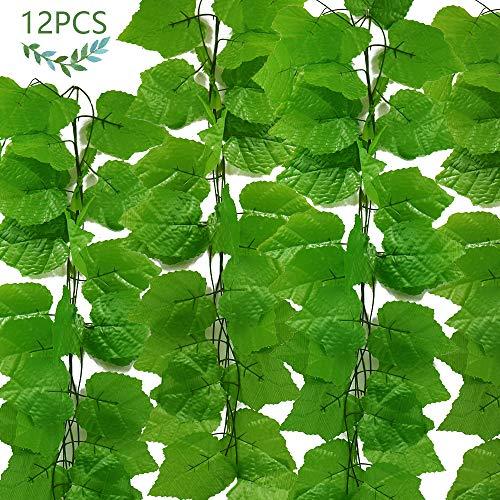 JUSTIDEA 12pcs Enredadera Artificial Plantas de Plastico Colgantes Hiedra Verde Hojas Interior y Exterior Guirnalda Decoración Balcón Ventana Boda Jardín Valla 90Ft