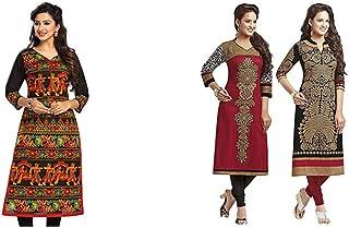 Jevi Prints Women's Dress Material (Pack of 2)(Saheli-1505&Saheli_1204_1225_Item 1 Color 0|Item 2 Color Black_Free Size)