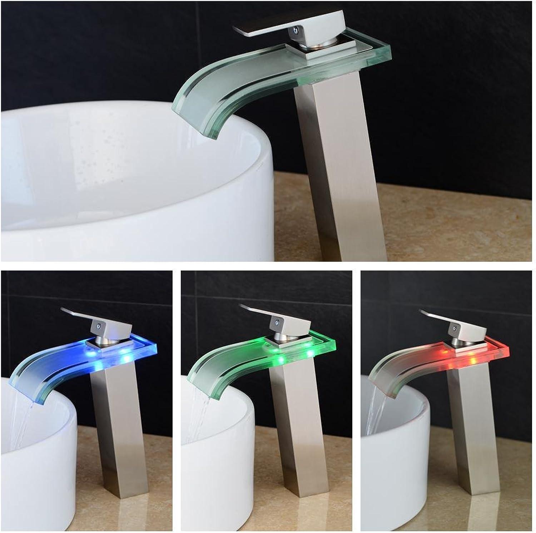 Ddlli Bath Mono Tap Bathroom Kitchen Sink Tap Glass Spout Waterfall Bathroom Sink Mixer Tap High Temperature Control LED Bathroom Tap Brush Nickel Kitchen Tap Nickle