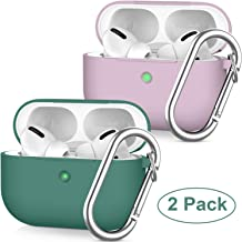 Compatible AirPods Pro Case Cover Silicone with Keychain. Pierre Case Compatible Wireless Charging. (Visible Front LED) for 2019 Apple AirPods 3(2 Pack Set) (Purple & Midnight Green)