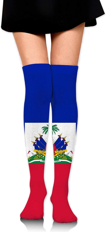 SWEET TANG Women Girl Over Knee Thigh High Socks Plus Size Tube Leg Warmers Stocking Cosplay Long Solid Leggings Sock (Haiti Flag 4)