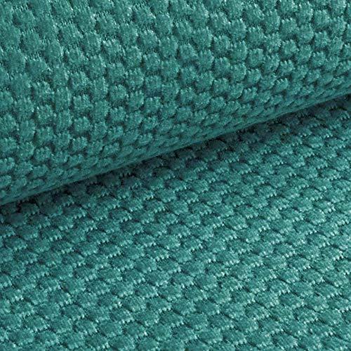 NOVELY® MAKAO – moderner und kuscheliger Möbelstoff mit 3D-Wabenmuster – ULTRAWEICH (09 | Petrol Türkis Blau)